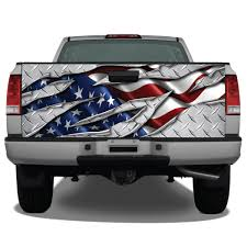 American Flag Ripped Metal Diamond Plate Tailgate Wrap | Miller Graphics 2016 2018 Toyota Tacoma Tailgate Letter Insert Gloss Series Ford F150 Center Stripe 15 Center Hood Racing Stripes Decals Stamped Sticker Reaper Tailgate Blackout Vinyl Graphic Decal Complete Set A 3rdg Jupiter On Earth Rode Precut Emblem Custom Raptor Mud Splash Wrap Car City Truck Graphics Wraps October 2012 Keith Brick Design Metal Mulisha Skull Circle Window X22 Speedway Blackout