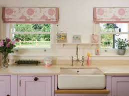 Kitchen Curtains In White And Pink Colors Cabinets