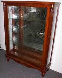 mahogany sliding etched glass door key lock inlaid curio cabinet