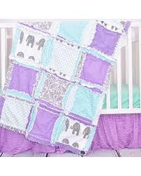 Winter Savings on Elephant Crib Set Mint Gray Purple Crib