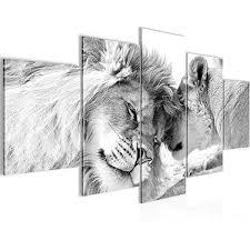 decomonkey bilder löwe afrika 200x100 cm 5 teilig