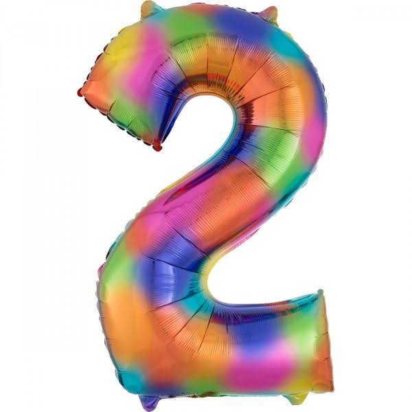 2 Rainbow Number Foil Balloon