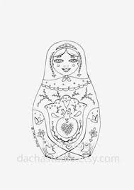Printable Coloring Page PDF Matryoshka Illustration By DachaStudio 300