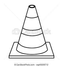Silhouette Striped Traffic Cone Flat Icon Vector