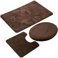 3 teiliges badezimmer teppich set rutschfeste microfaser zottel weich badematte kontur badematte toilettensitzbezug 50 x 80 cm kaffee