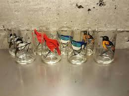 Vintage Set Of 8 Anchor Hocking Bird Drinking Cocktail Glasses Tumbler Each Chickadee Cardinal Blue Jay Baltimore Oriole 10 Ounce Glass By MidModery On