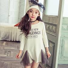 Girls Dresses 2015 New Korean Children Clothing Long Sleeve Letters Gauze Dress Irregular Hem Kids Clothes White Black Dandy 9055