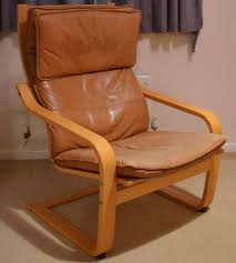 Poang Chair Cushion Uk by Ikea Poang Chair Tan Leather Cushion And Footstool Cushion In