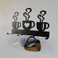 Coffee Cup Mug Rack Four Holder Metal Wall Hanging Kitchen Organizer Decor