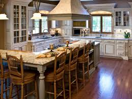 Classy French Kitchenterior Idea Feat Large L Shaped Island With Arrow Back Wooden Stools Designs Home