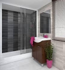 modern graphite grey tile effect panels tongue groove bathroom