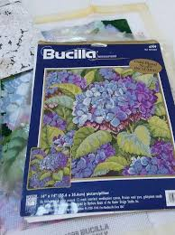 Bucilla needlepoint kit Blue Hydrangea