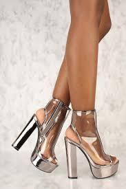 pewter clear peep toe platform pump chunky heel booties faux