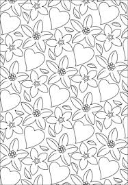 Click To See Printable Version Of Hearts And Flowers Pattern Coloring Page