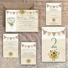 Wedding Invitations Personalised Rustic Damask Bunting Sunflower Packs Of 10