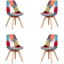kunstdesign esszimmerstühle aus stoff moderne patchwork stühle passend für esszimmer wohnzimmer café starke holzkonstruktion rot 4 stück