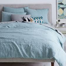 Belgian Flax Linen Fibre Dyed Quilt Cover Pillowcases Light Pool