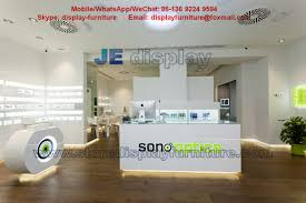 Eyeglass Store Display Furniture In Customized White Counters With Storage Cabinet For Table
