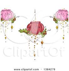 Cartoon Of A Fancy Chandelier Over Red Striped Wallpaper