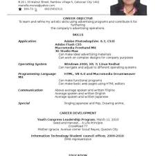 Example Of Resume For Ojt College Student Template In Sample Format With Regard To Examples