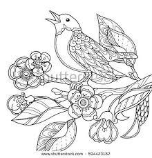Spring Garden Composition Doodle Style Bird Stock Vector 594423182