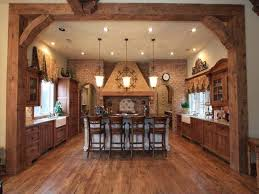Rustic Kitchen Decor Ideas With Brown Floor And Chandeliers