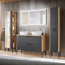 details zu badezimmer badmöbel set doppel waschtisch unterschrank hochschrank led spiegel