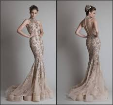 new designer luxury gold color gown high neck collar tulle mermaid