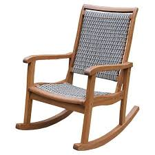 Artfully Crafted Of Brazilian Eucalyptus And Featuring A Woven Wicker Seat Back This Charming Indoor Outdoor Rocking Chair Brings Rustic Style To Your