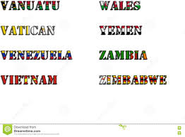 Country Names In Colors Of National Flags Complete Set Letters V