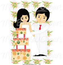 Bridal Clipart of a Wedding Couple Cutting Their Fruity Cake on White
