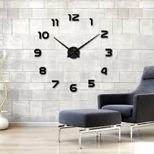 details zu wanduhr xl deko spiegel edelstahl uhr wandtattoo wand uhr groß clock schwarz