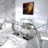 cc esstische edelstahl esszimmer tisch glastische glas hochglanz 200x100x75 cm