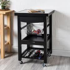 KSP Harvest Kitchen Cart with Granite Inlay Black