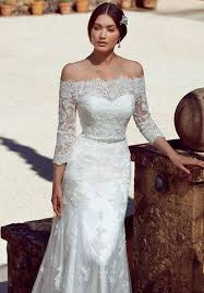 Classic Spanish Style Lace Wedding Dress With Fitted A Line Silhouette Beaded Belt Attached