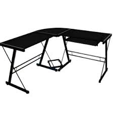 walker edison black glass corner computer desk home design ideas