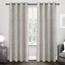 100 Residence Curtains Forest Hill Dove Grey Woven Grommet Top Window Curtain