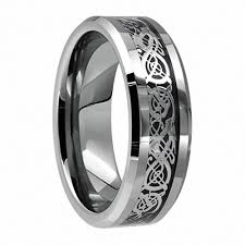 Men Engagement Ring 8mm Celtic Tungsten Carbide Dragon Ring for Men