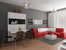 neutral simple living room with red sectional sofa and futuristic