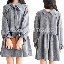Aliexpress Buy Vintage Mori Girls Bubble Long Sleeves Dress Cute Bows Tie Collar Back Button Down Grey From Reliable Animal Suppliers On Meow Girl
