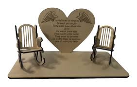 Loved Ones In Heaven 3D Memorial Plaque With 2 Empty Rocking Chairs With  Original Verse Written By CJ Round