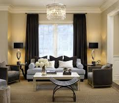 Light Color Scheme Of The Living Room Complements Dark Drapes Perfectly