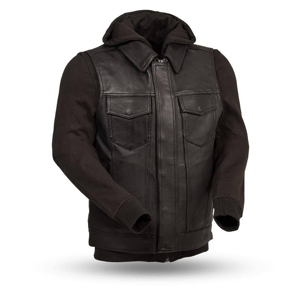 First Manufacturing FIM697CDDH-XXL-BLK Kent Men's Leather Jacket (2X-Large, Black)