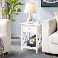 2er set nachttisch holz beistelltisch mit schublade und ablage couchtisch für wohnzimmer und schlafzimmer weiß