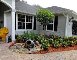 Minimalist Rustic Modern House Design With Various Flower Plants For Small Front Yard Landscaping Ideas No Grass