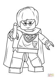 Lego Harry Potter With Wand Coloring Page