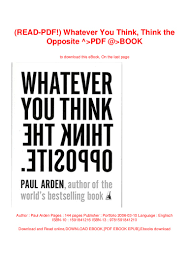 100 Whatever You Think Think The Opposite Ebook READPDF The PDF BOOK