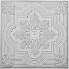 Ceilume Ceiling Tile Adhesive by Ceilume Nantucket White 2 Ft X 2 Ft Glue Up Ceiling Tile Kit V3