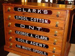 Antique Spool Cabinet Decals by 6 Drawer Clark Spool Cabinet With Red Glass Inserts Sold On Ruby Lane