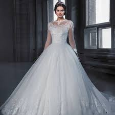 Vestido De Noiva Princess Ball Gown Long Sleeve Lace Wedding Dresses 2017 See Through Tulle Vintage